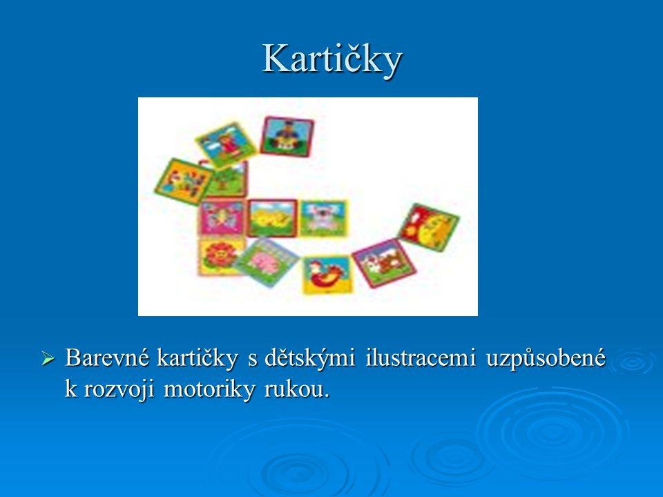 Kartičky Barevné kartičky s dětskými ilustracemi uzpůsobené k rozvoji motoriky rukou.