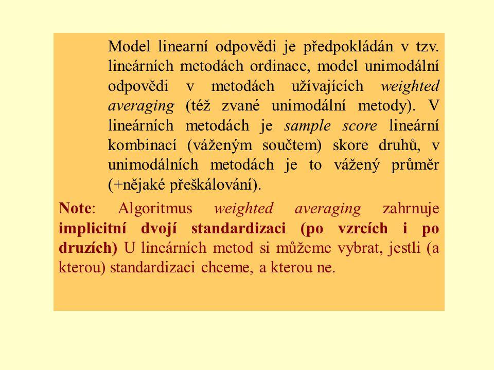 Model linearní odpovědi je předpokládán v tzv