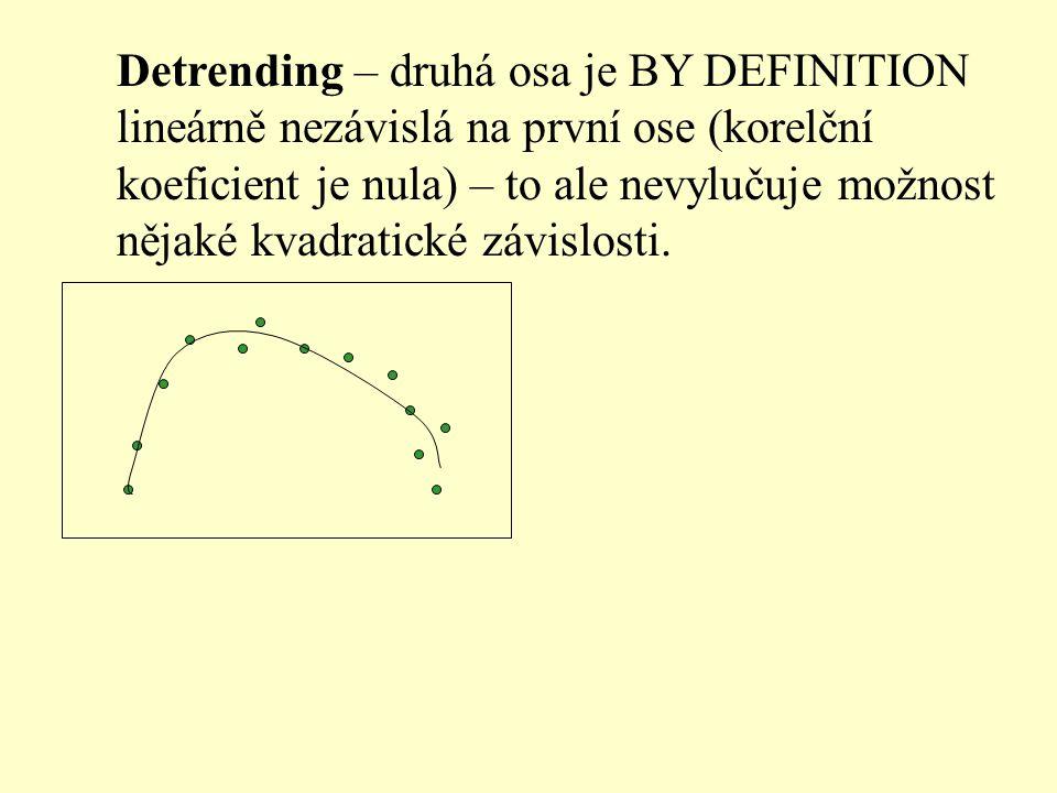 Detrending – druhá osa je BY DEFINITION lineárně nezávislá na první ose (korelční koeficient je nula) – to ale nevylučuje možnost nějaké kvadratické závislosti.