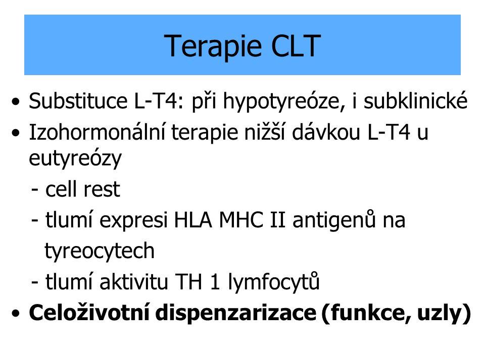 Terapie CLT Substituce L-T4: při hypotyreóze, i subklinické