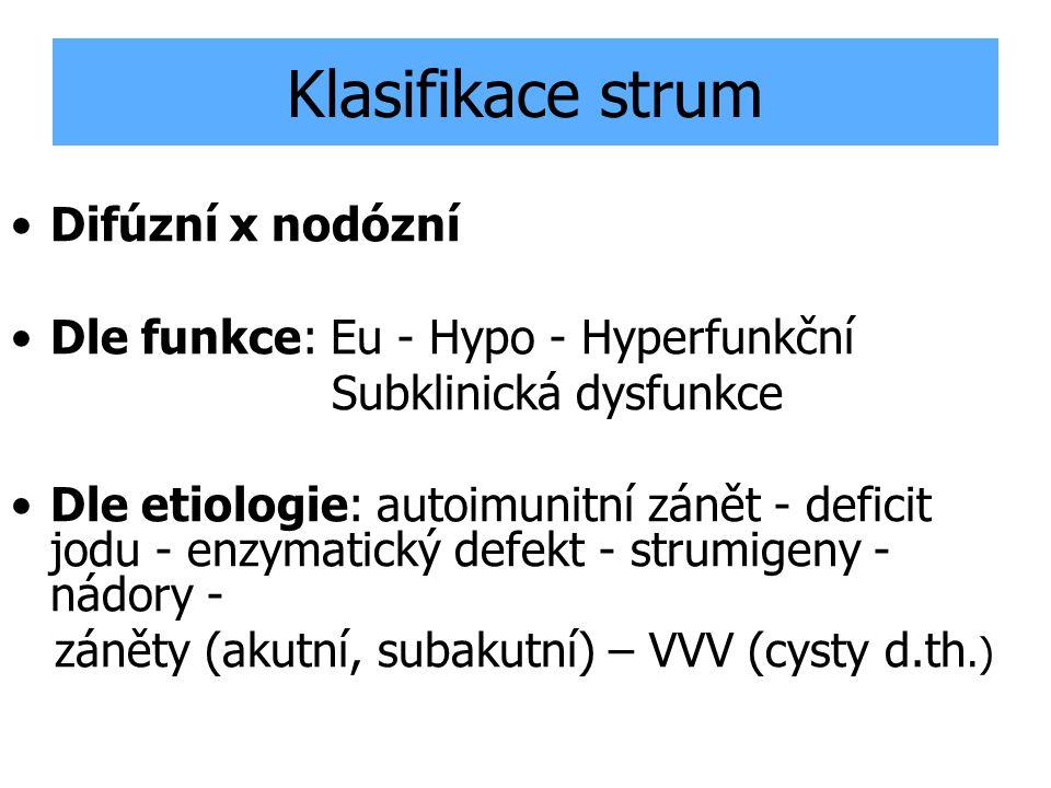Klasifikace strum Difúzní x nodózní