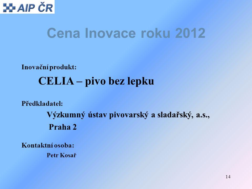 Cena Inovace roku 2012 CELIA – pivo bez lepku Praha 2