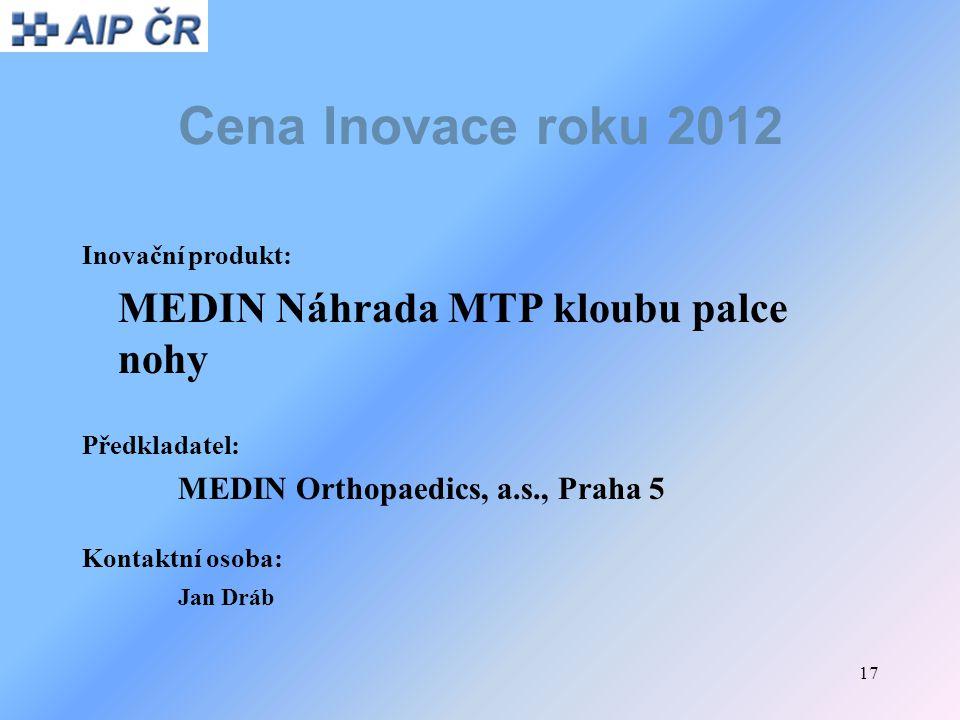 Cena Inovace roku 2012 MEDIN Náhrada MTP kloubu palce nohy