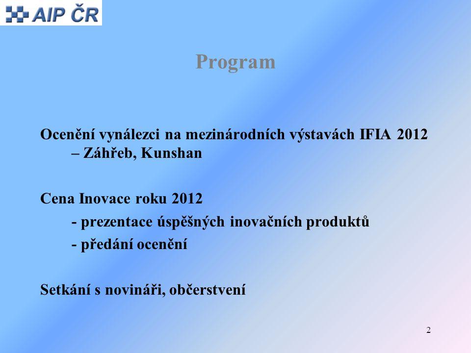 Program Ocenění vynálezci na mezinárodních výstavách IFIA 2012 – Záhřeb, Kunshan. Cena Inovace roku 2012.