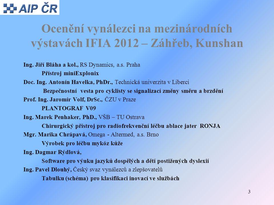 Ocenění vynálezci na mezinárodních výstavách IFIA 2012 – Záhřeb, Kunshan