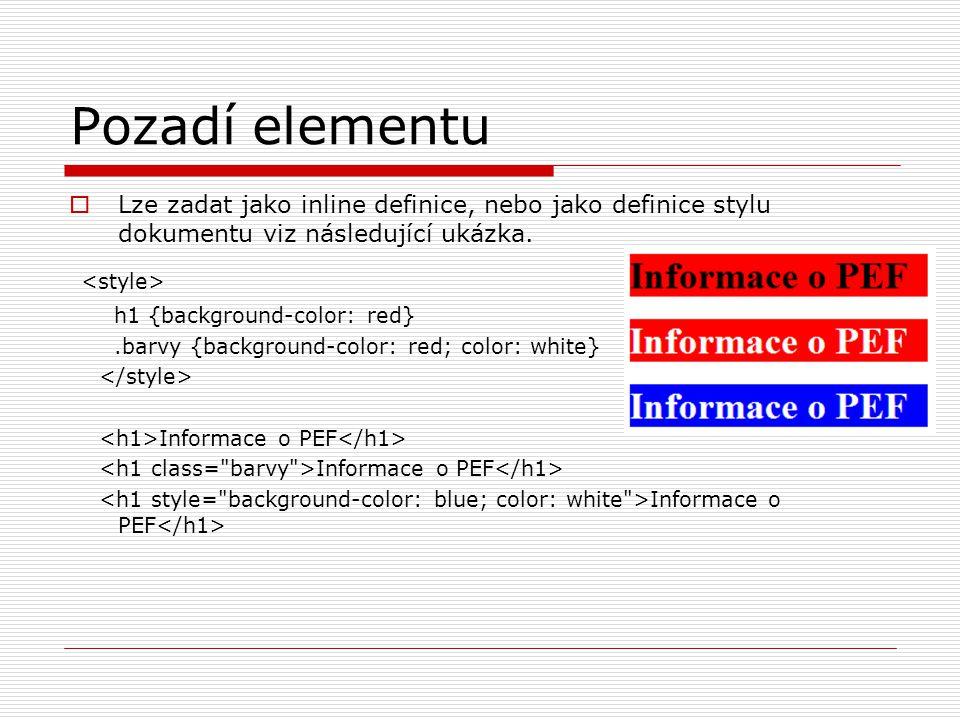 Pozadí elementu <style>