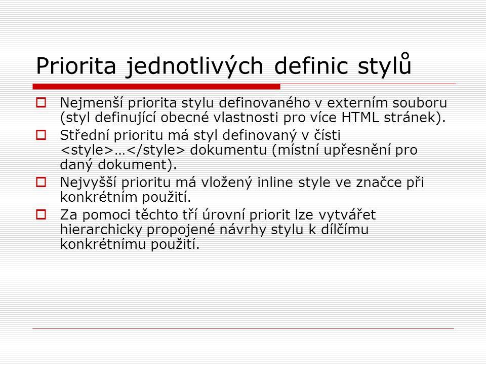 Priorita jednotlivých definic stylů