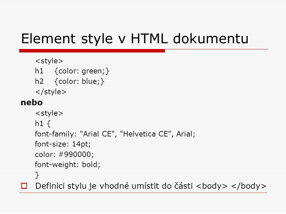 Element style v HTML dokumentu