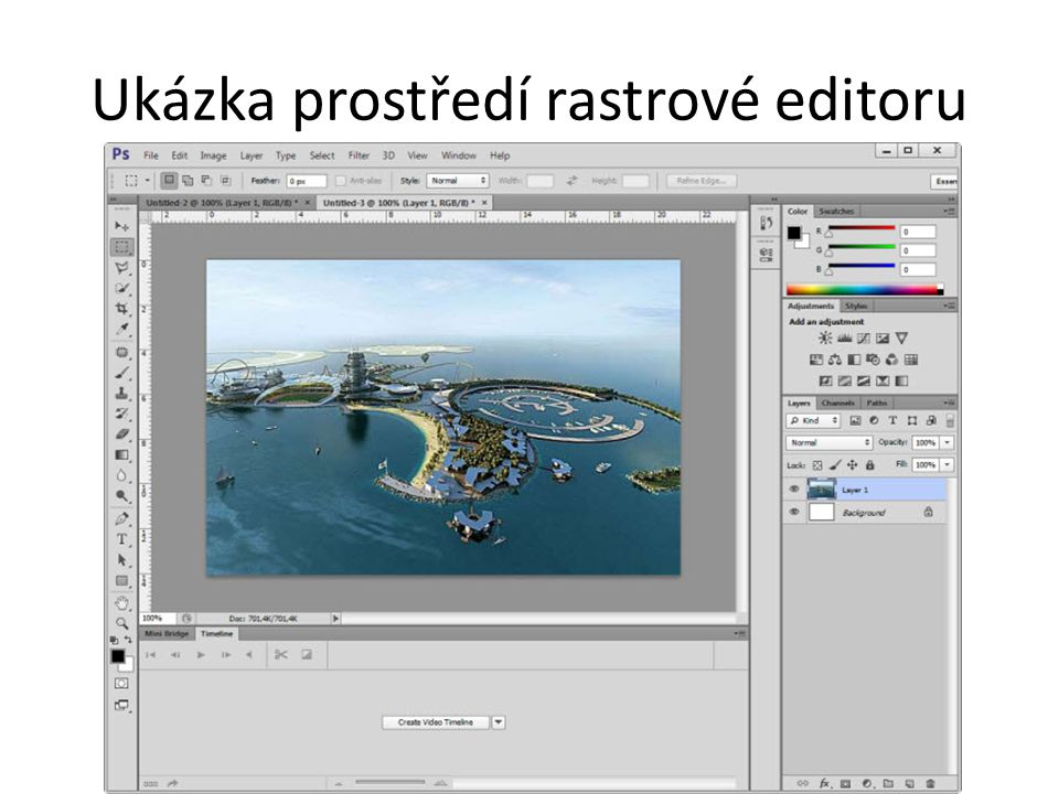 Ukázka prostředí rastrové editoru