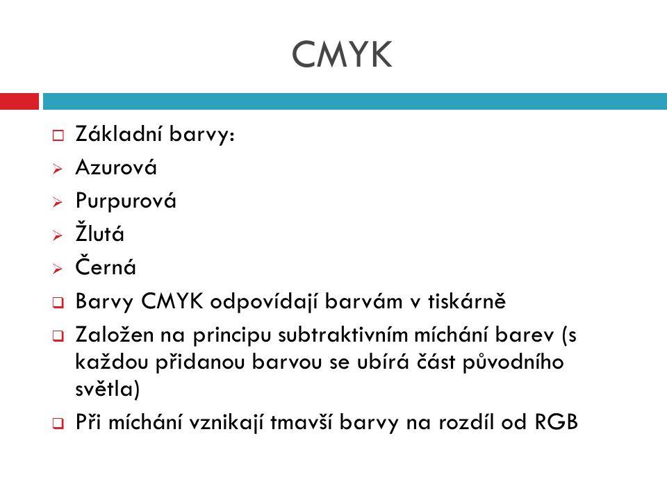 CMYK Základní barvy: Azurová Purpurová Žlutá Černá