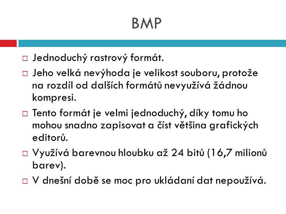 BMP Jednoduchý rastrový formát.