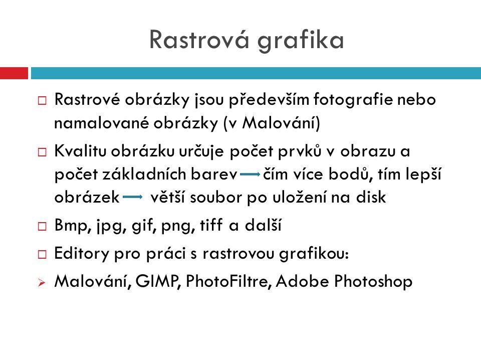 Rastrová grafika Rastrové obrázky jsou především fotografie nebo namalované obrázky (v Malování)