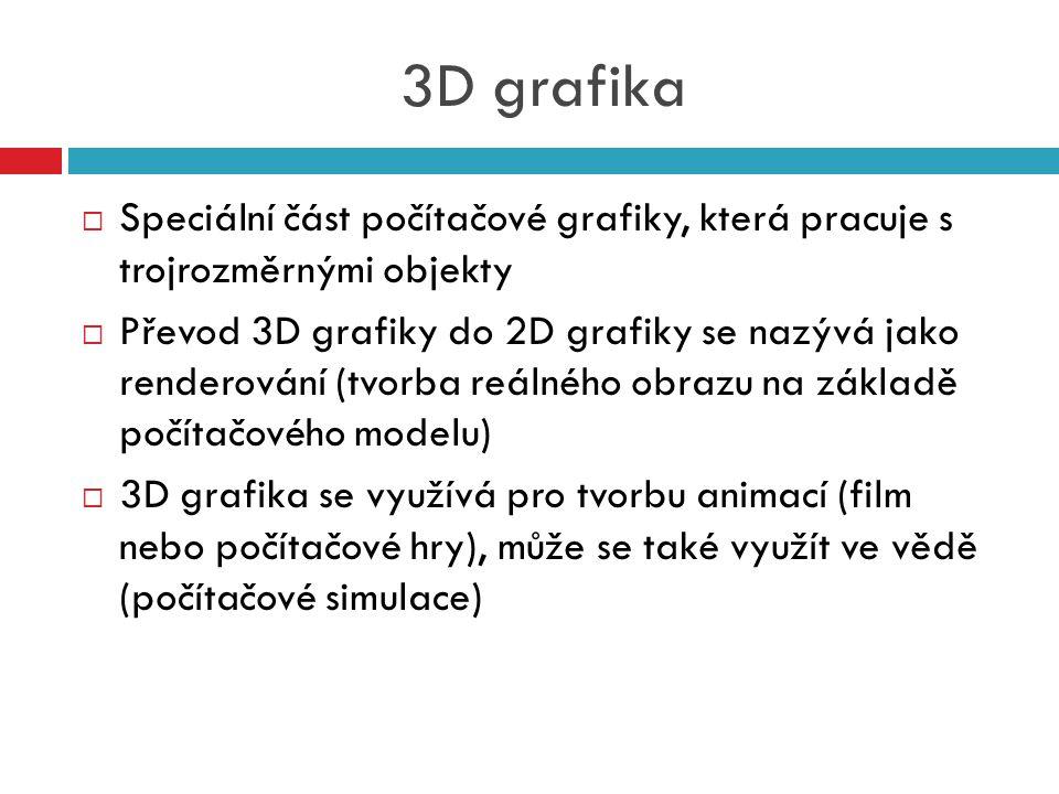 3D grafika Speciální část počítačové grafiky, která pracuje s trojrozměrnými objekty.