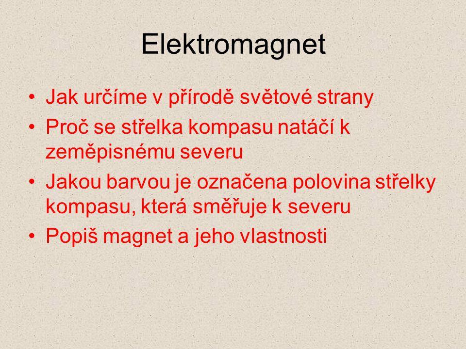 Elektromagnet Jak určíme v přírodě světové strany