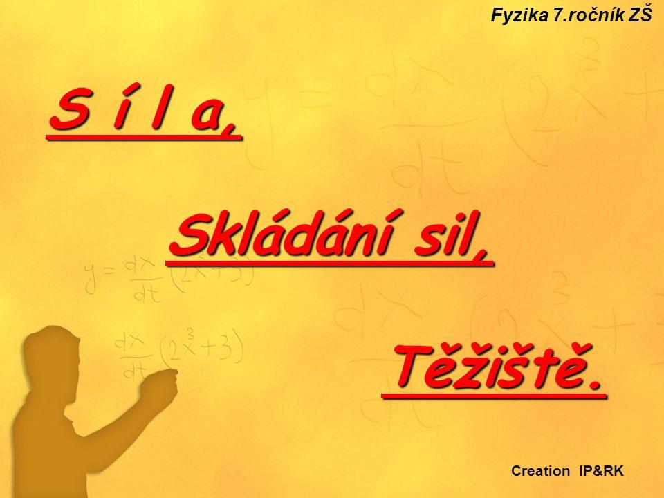 Fyzika 7.ročník ZŠ S í l a, Skládání sil, Těžiště. Creation IP&RK