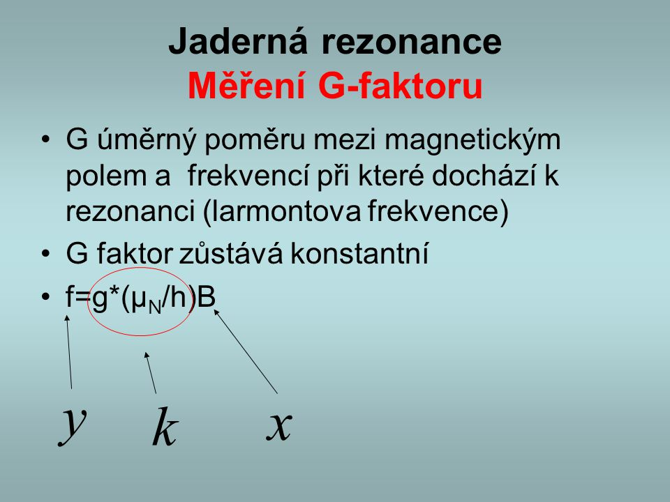 Jaderná rezonance Měření G-faktoru