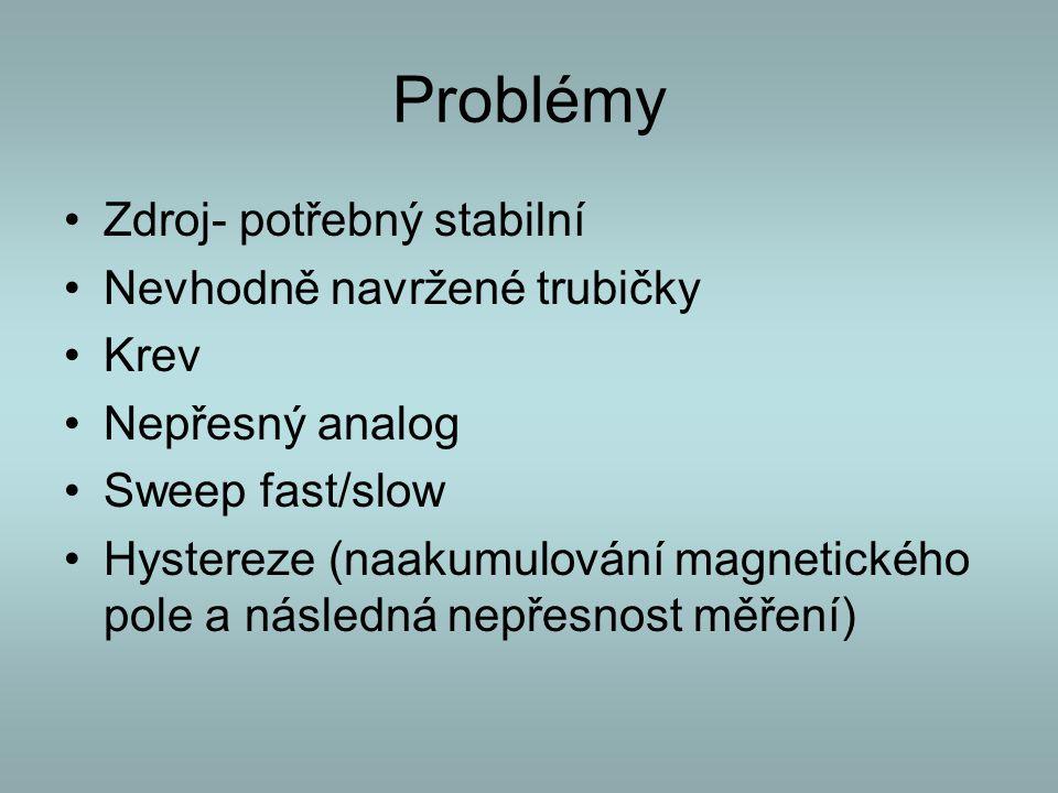 Problémy Zdroj- potřebný stabilní Nevhodně navržené trubičky Krev