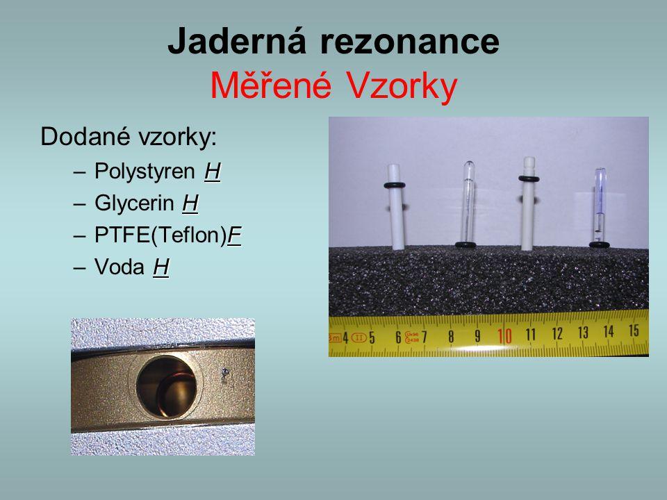 Jaderná rezonance Měřené Vzorky