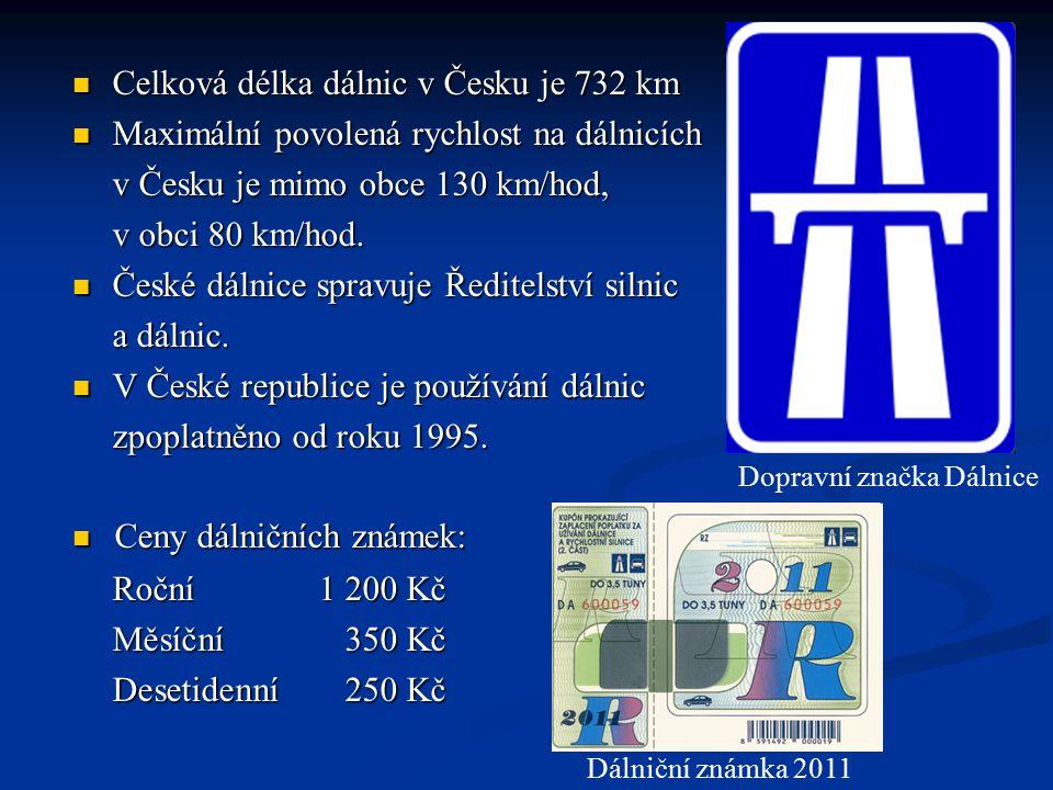 Celková délka dálnic v Česku je 732 km