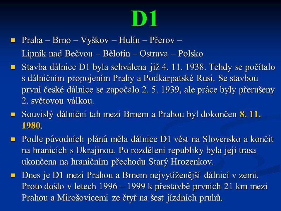 D1 Praha – Brno – Vyškov – Hulín – Přerov –