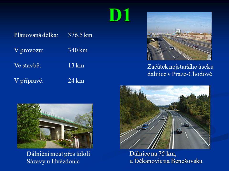 D1 Plánovaná délka: 376,5 km V provozu: 340 km Ve stavbě: 13 km
