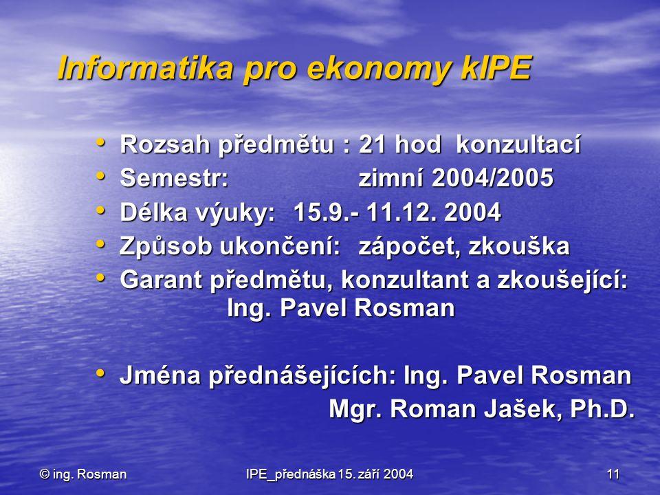 Informatika pro ekonomy kIPE