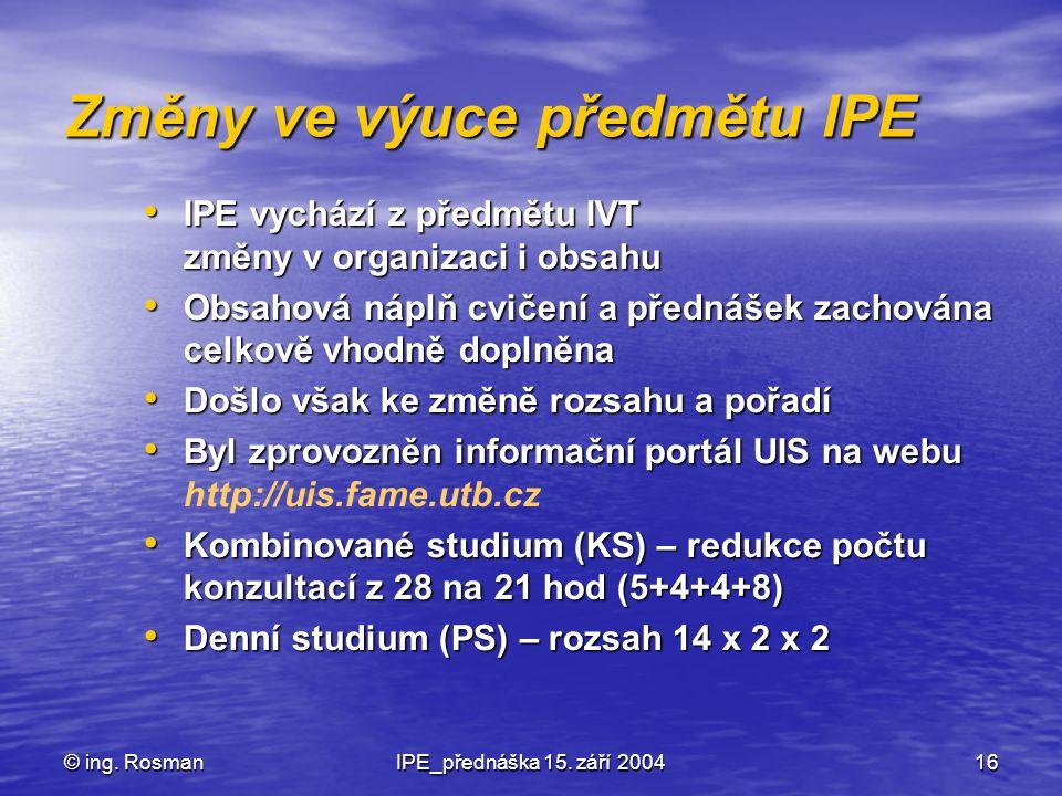 Změny ve výuce předmětu IPE