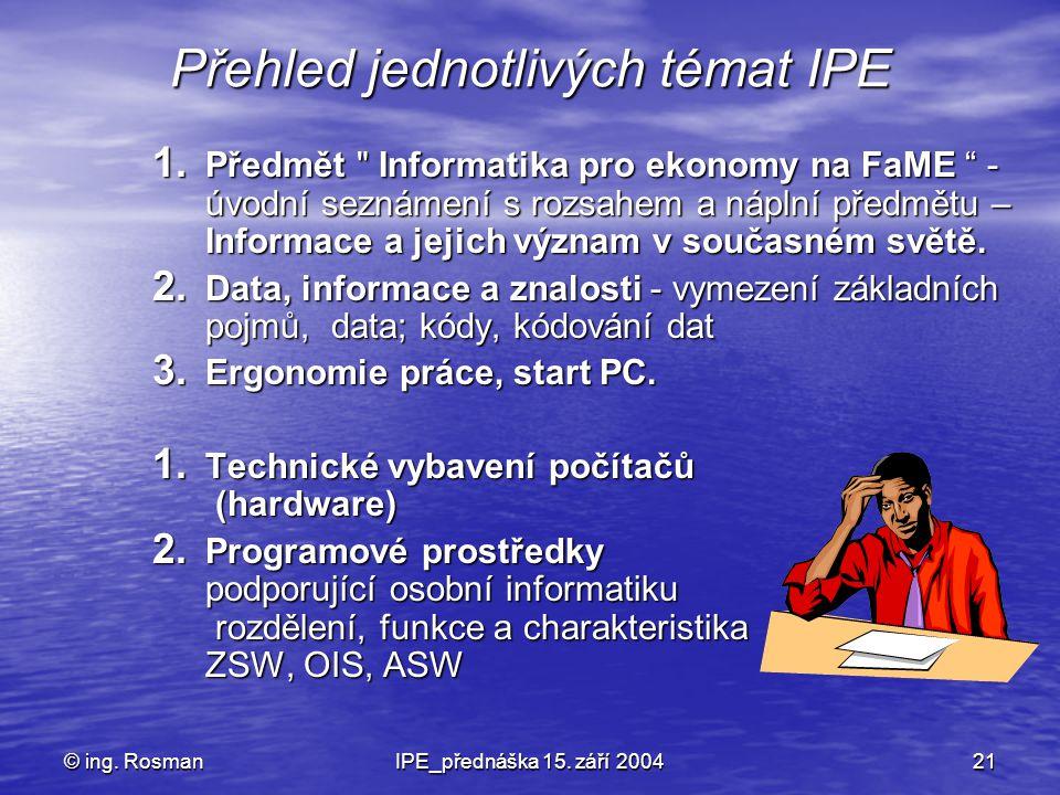 Přehled jednotlivých témat IPE