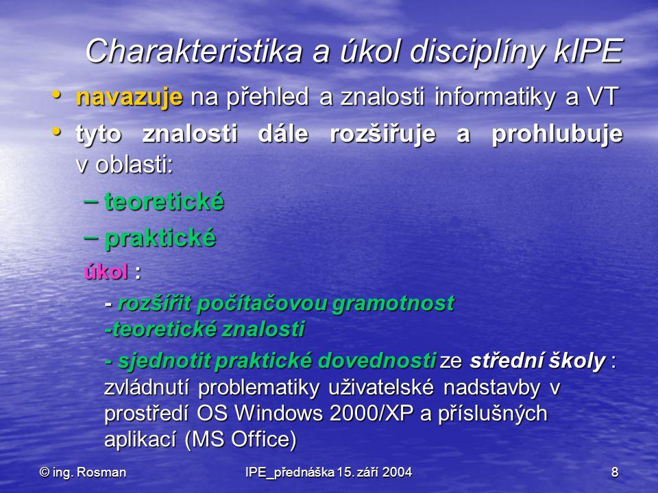 Charakteristika a úkol disciplíny kIPE