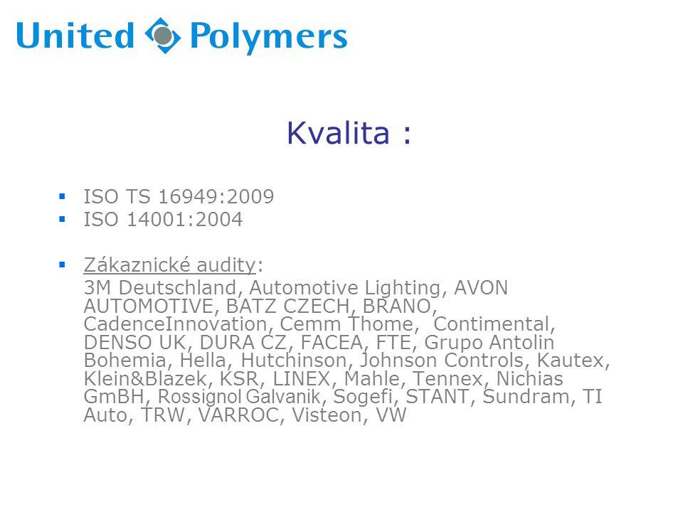 Kvalita : ISO TS 16949:2009 ISO 14001:2004 Zákaznické audity: