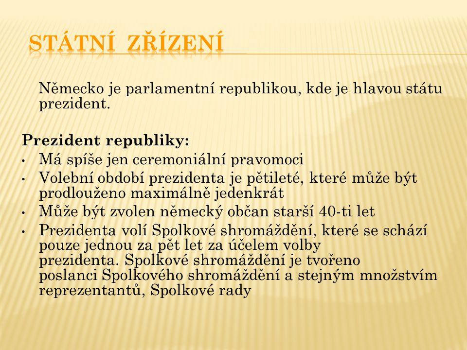 STÁTNÍ ZŘÍZENÍ Německo je parlamentní republikou, kde je hlavou státu prezident. Prezident republiky: