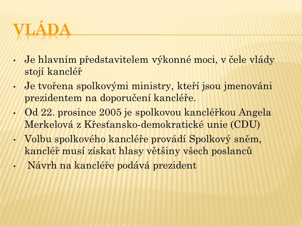 vláda Je hlavním představitelem výkonné moci, v čele vlády stojí kancléř.