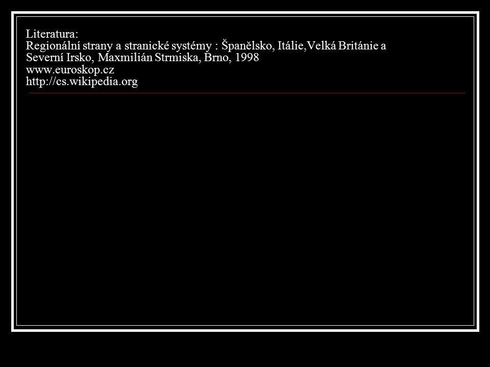 Literatura: Regionální strany a stranické systémy : Španělsko, Itálie,Velká Británie a Severní Irsko, Maxmilián Strmiska, Brno, 1998 www.euroskop.cz http://cs.wikipedia.org