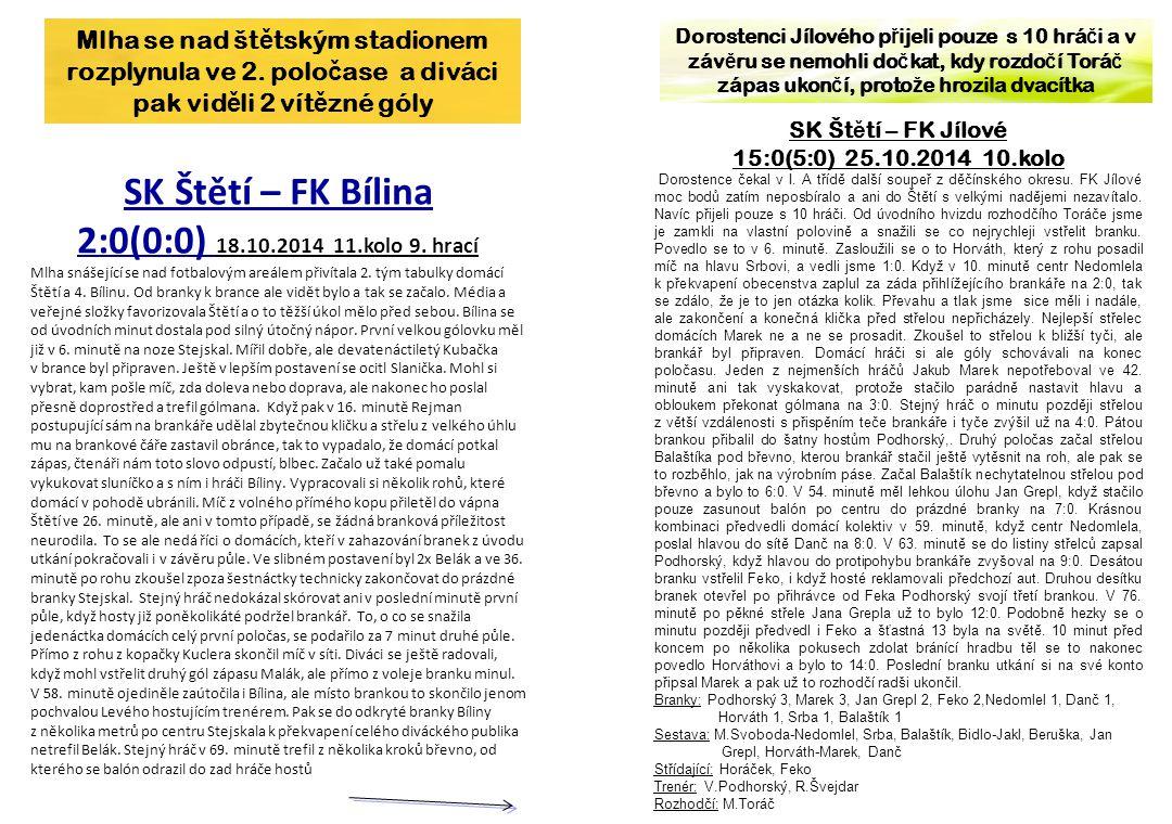 SK Štětí – FK Bílina 2:0(0:0) 18.10.2014 11.kolo 9. hrací