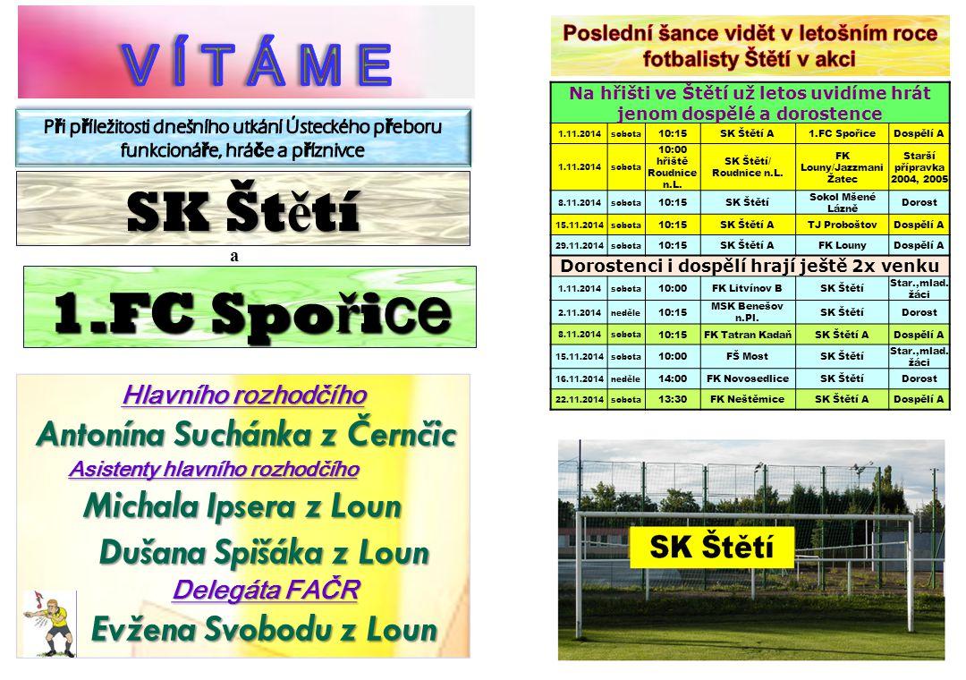 V Í T Á M E SK Štětí 1.FC Spořice Michala Ipsera z Loun