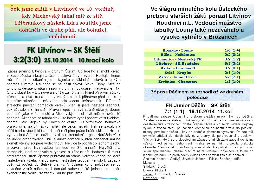 FK Litvínov – SK Štětí 3:2(3:0) 25.10.2014 10.hrací kolo