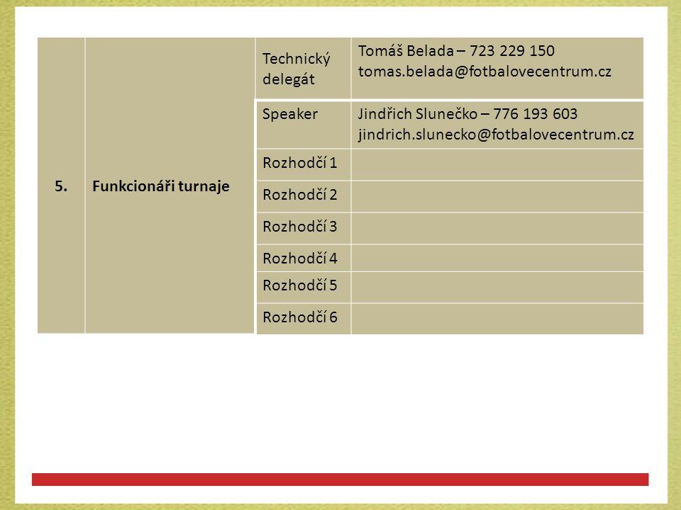 5. Funkcionáři turnaje. Technický delegát. Tomáš Belada – 723 229 150. tomas.belada@fotbalovecentrum.cz.