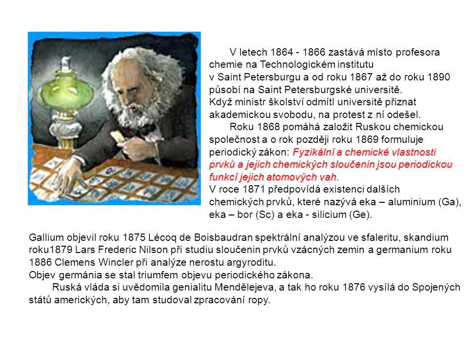 V letech 1864 - 1866 zastává místo profesora