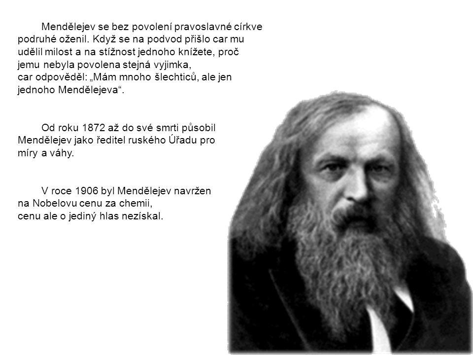 Mendělejev se bez povolení pravoslavné církve