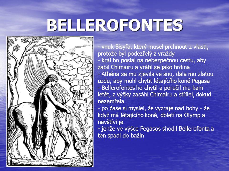 BELLEROFONTES - vnuk Sisyfa, který musel prchnout z vlasti, protože byl podezřelý z vraždy.