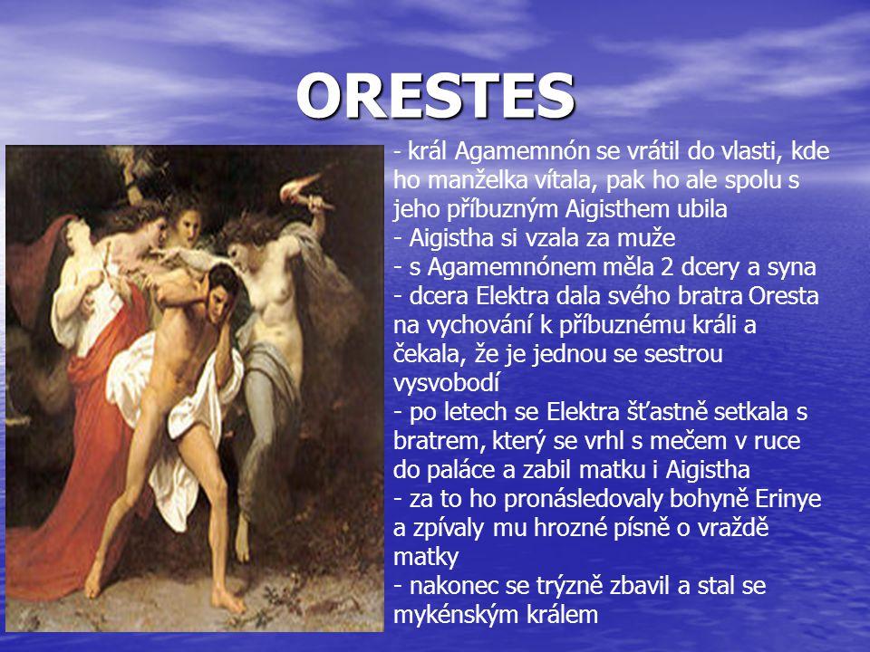 ORESTES Aigistha si vzala za muže s Agamemnónem měla 2 dcery a syna
