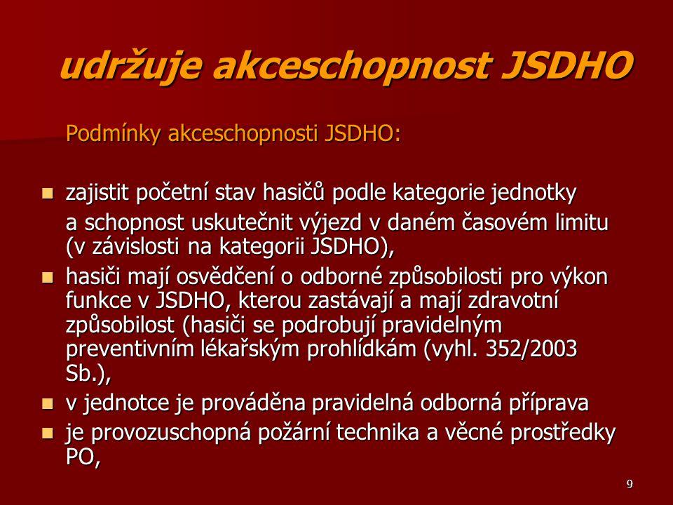udržuje akceschopnost JSDHO