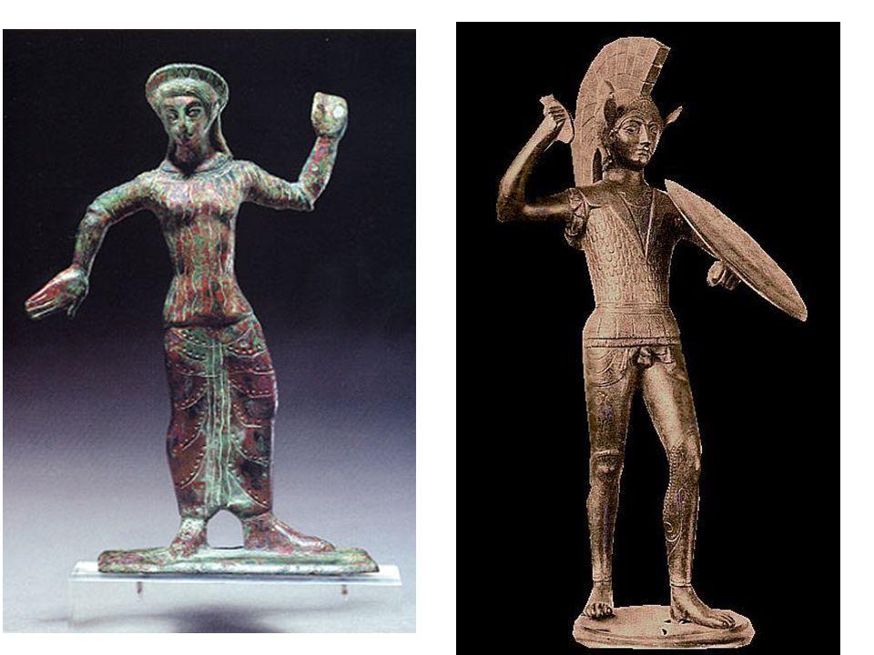 Etruské sochařství; bronzové votivní sošky; Tanečník a válečník