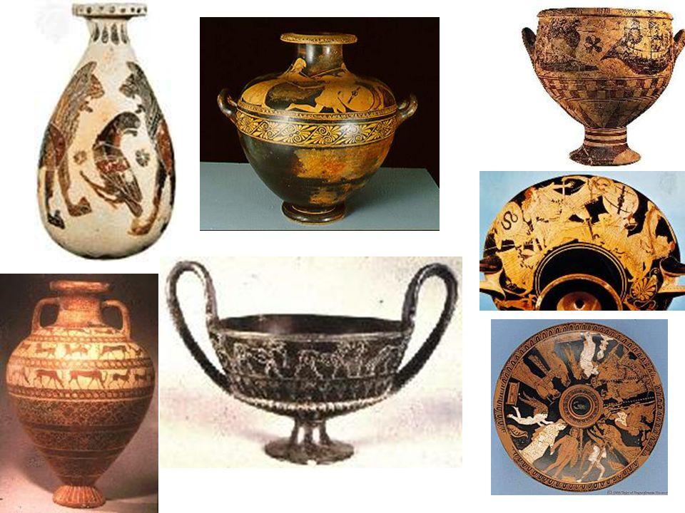 Etruská keramika; Alabastron; amfora;hydria – nádoba na vodu; kantharos – šálek na pití; krater; kylix; pyxis