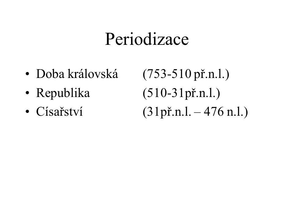 Periodizace Doba královská (753-510 př.n.l.) Republika (510-31př.n.l.)