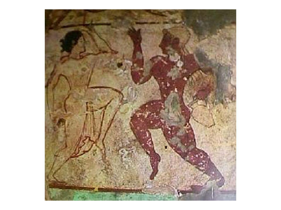 Taneční motivy; hudba u Etrusků hrála silnou roli, tanešní scény se v pohřebních komorách anebo na sarkofázích objevují od 5.
