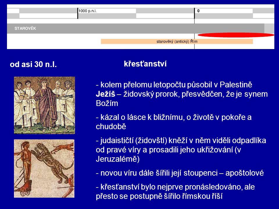 od asi 30 n.l. křesťanství. - kolem přelomu letopočtu působil v Palestině Ježíš – židovský prorok, přesvědčen, že je synem Božím.