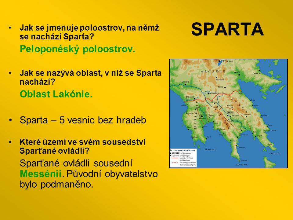 SPARTA Peloponéský poloostrov. Sparta – 5 vesnic bez hradeb