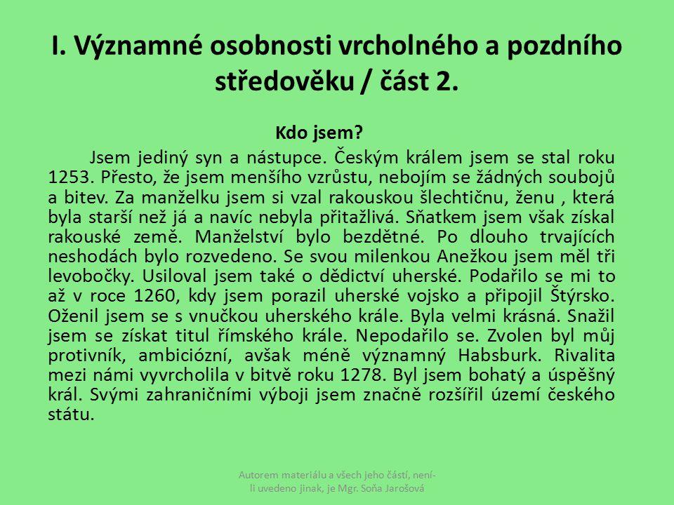 I. Významné osobnosti vrcholného a pozdního středověku / část 2.