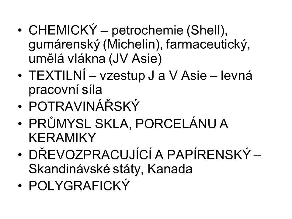 CHEMICKÝ – petrochemie (Shell), gumárenský (Michelin), farmaceutický, umělá vlákna (JV Asie)